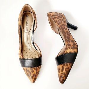 Naturalizer Cheetah Print Pointed Toe Heels 7.5
